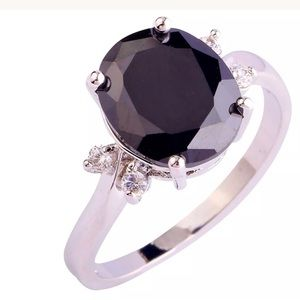 Jewelry - 925 sterling Black Spinel with white sapphire ring
